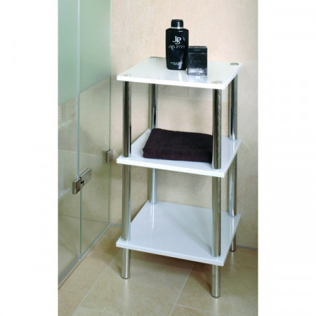 Sellette blanche 3 tablettes se meubler on line for Etagere de salle de bain