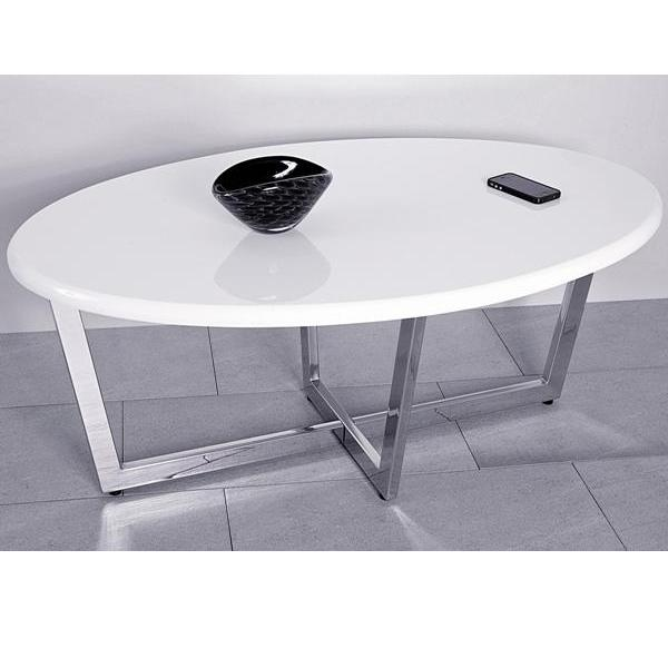 Table basse ovale blanche lanciano - Table basse ovale blanche ...
