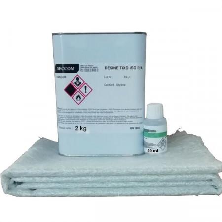 kit résine polyester iso 2kg + catalyseur +mat 225