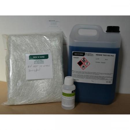 kit résine polyester iso 5 kg + cata 100 ml + mat 300