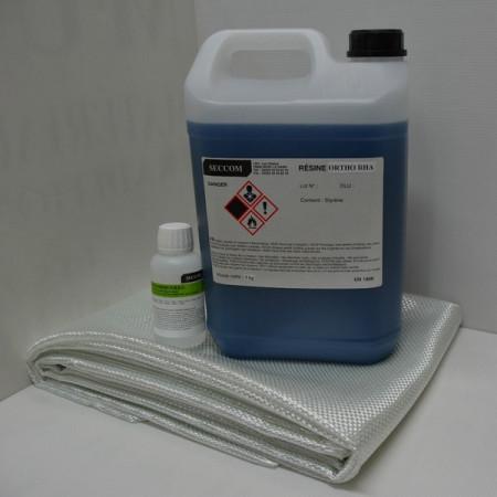 kit résine polyester ortho 5 kg + catalyseur + roving