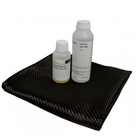 kit résine EPOXY de stratification 399 g + carbone